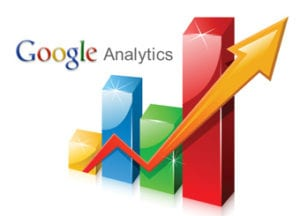 "Multicoloured bar graph with ""Google Analytics"""
