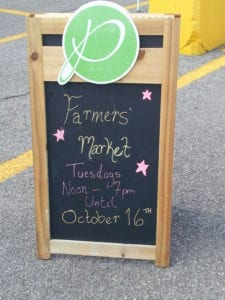 sign for Pickering Farmers' Market