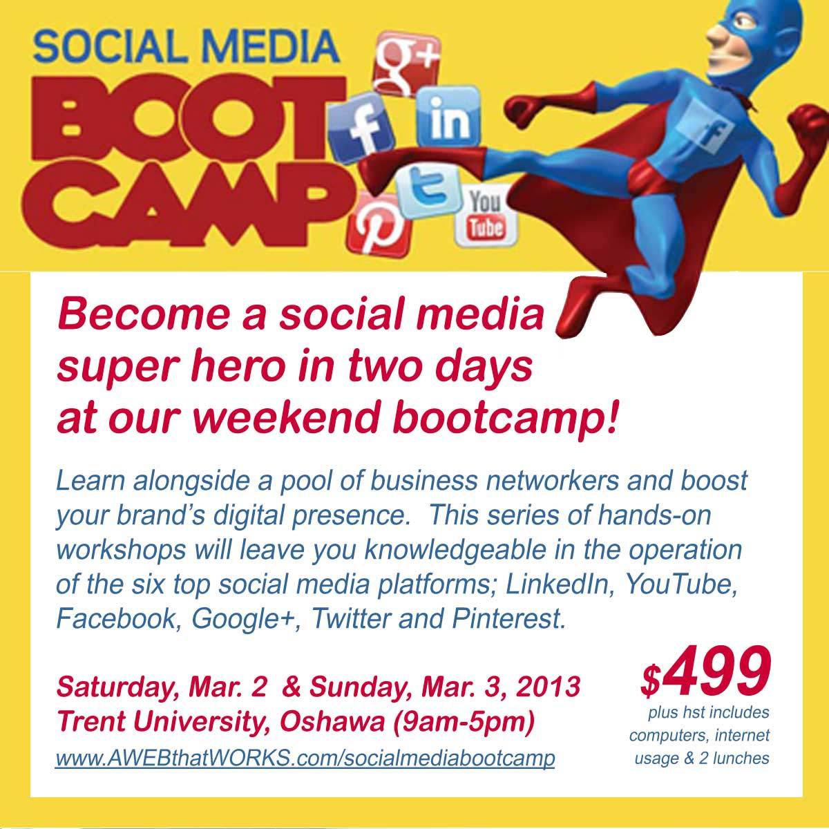 social media bootcamp postcard