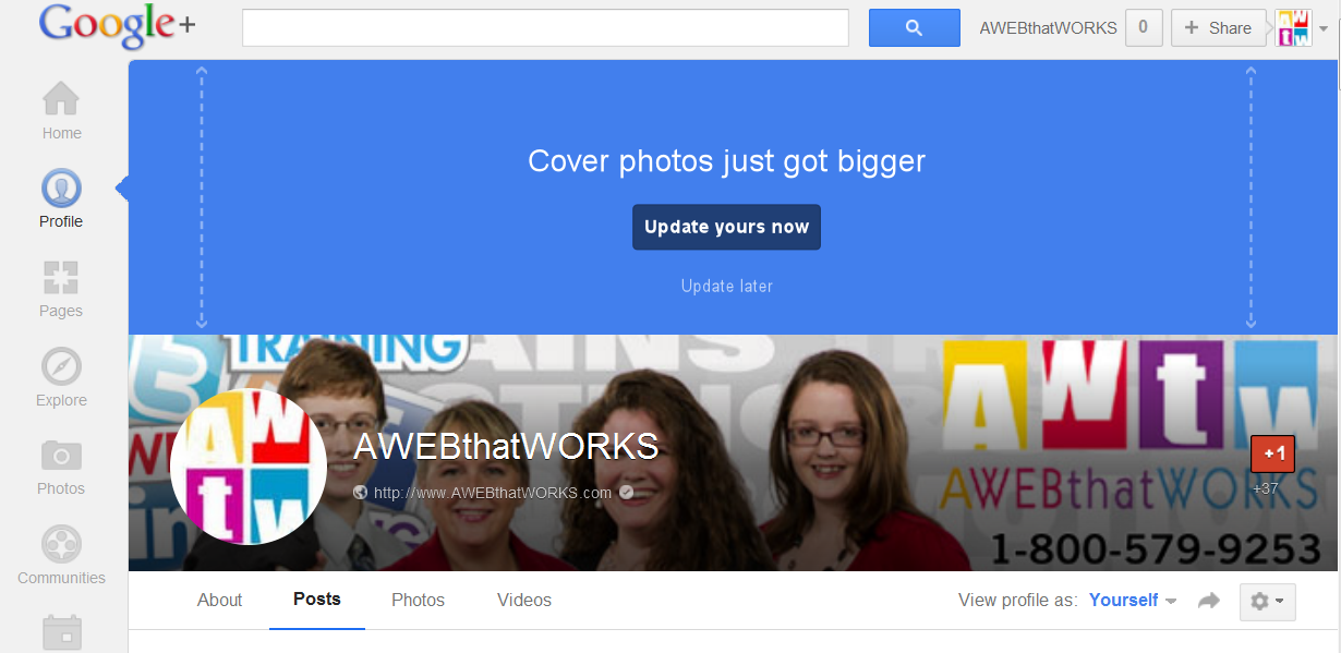 Google+ updates cover image size