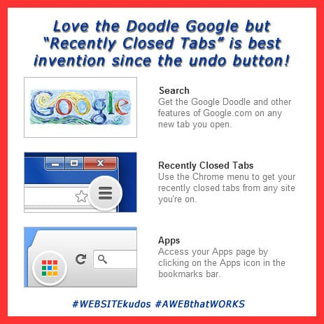 "Love ""Doodle"" Google but ""Recently Closed Tabs"" is the best invention since the ""undo"" button! #websitekudos #AWEBthatWORK"