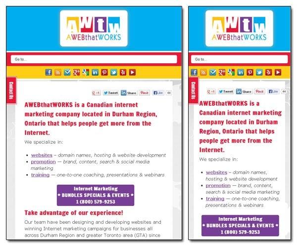 AWEBthatWORKS - Responsive Website - Smallest sizes