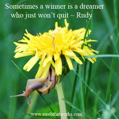 Sometimes a winner is a dreamer who just won't quit - Rudy