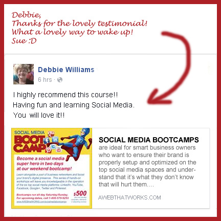 I highly recommend this course. Having fun and learning social media. You will love it!  Debbie Williams