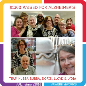 Team Hubba Bubba, Doris, Lloyd and Lydia raised $1300 for Alzheimer's Disease