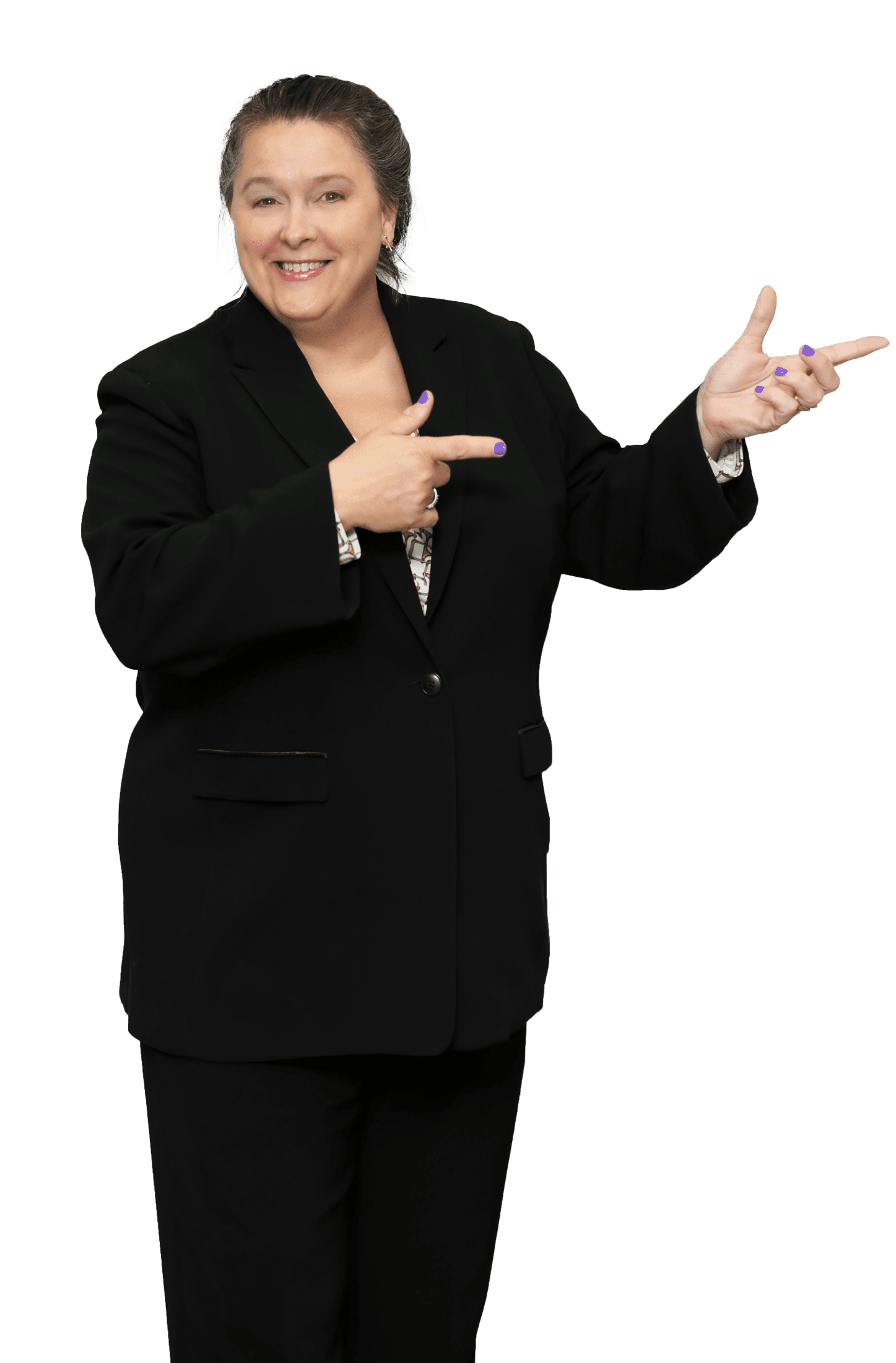 Picture of Sue Sutcliffe Standing and Pointing