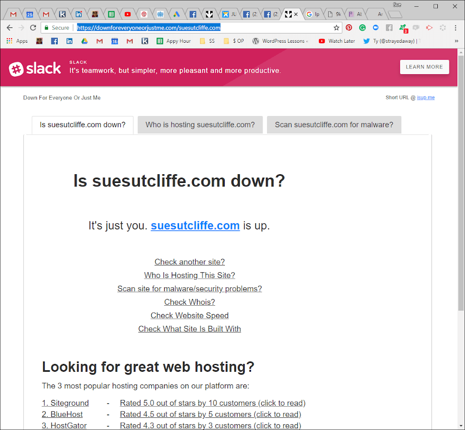Is my website down, or is it just me?