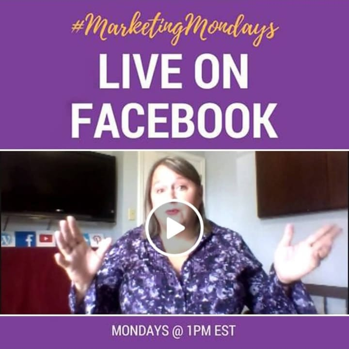 marketing mondays @1pm #LiveonFacebook