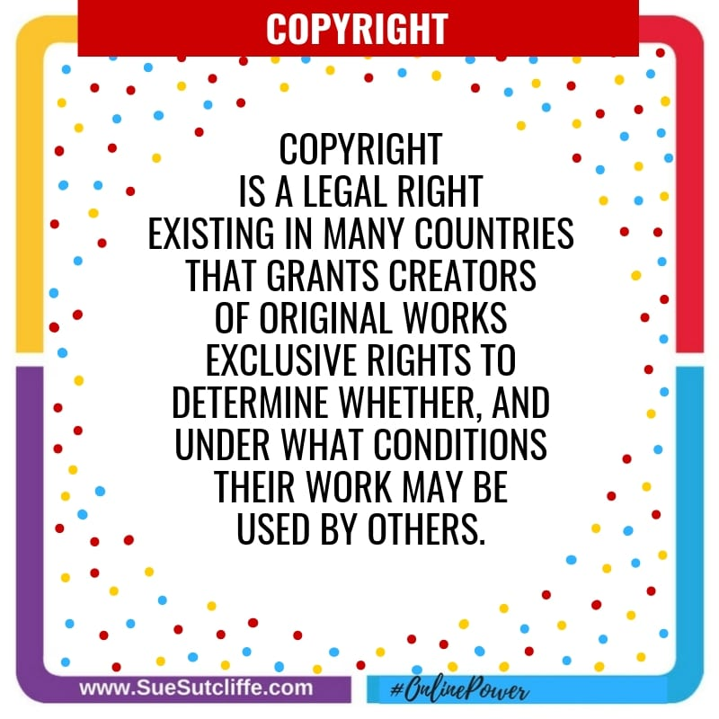 Copyright is a legal right, existing in many countries, that grants the creator of an original work exclusive rights to determine whether, and under what conditions, this original work may be used by others.