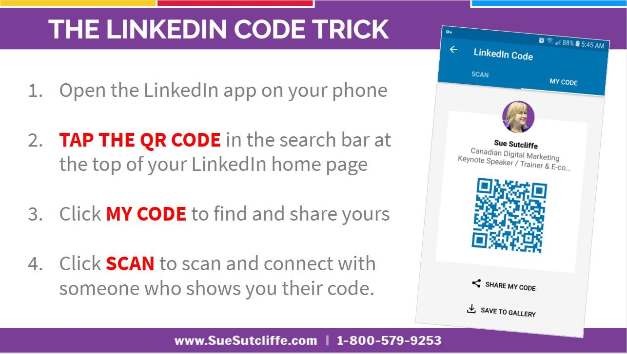 Open the LinkedIn app on your phone   TAP THE QR CODE in the search bar at the top of your LinkedIn home page   Click MY CODE to find and share yours   Click SCAN to scan and connect with someone who shows you their code.